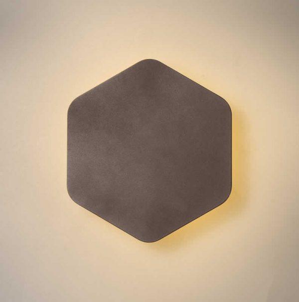 Lichfield Lighting Maxwell Magnetic Base Wall Lamp, 12W LED 3000K 498lm, 20cm Vertical Hexagonal, Coffee photo 1