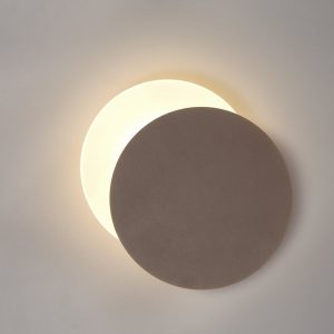 Lichfield Lighting Maxwell Magnetic Base Wall Lamp, 12W LED 3000K 498lm, 20/19cm Round Right Offset, Coffee/Acrylic Frosted Diffuser photo 1