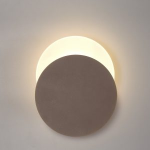 Lichfield Lighting Maxwell Magnetic Base Wall Lamp, 12W LED 3000K 498lm, 20/19cm Round Bottom Offset, Coffee/Acrylic Frosted Diffuser photo 1