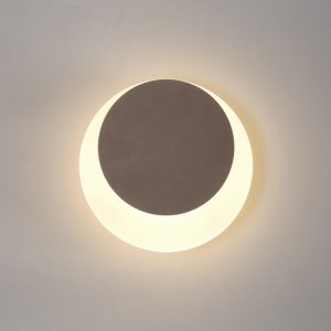 Lichfield Lighting Maxwell Magnetic Base Wall Lamp, 12W LED 3000K 498lm, 15/19cm Round Top Offset, Coffee/Acrylic Frosted Diffuser photo 1