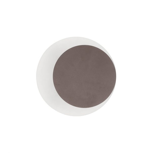 Lichfield Lighting Maxwell Magnetic Base Wall Lamp, 12W LED 3000K 498lm, 15/19cm Round Right Offset, Coffee/Acrylic Frosted Diffuser photo 3