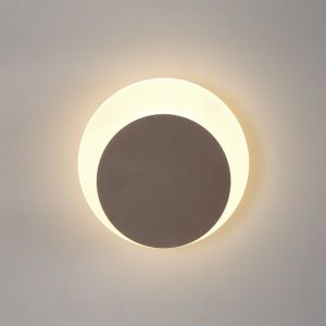 Lichfield Lighting Maxwell Magnetic Base Wall Lamp, 12W LED 3000K 498lm, 15/19cm Round Bottom Offset, Coffee/Acrylic Frosted Diffuser photo 1