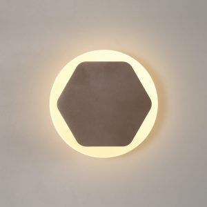 Lichfield Lighting Maxwell Magnetic Base Wall Lamp, 12W LED 3000K 498lm, 15cm Horizontal Hexagonal 19cm Round Centre, Coffee/Acrylic Frosted Diffuser photo 1