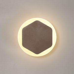 Lichfield Lighting Maxwell Magnetic Base Wall Lamp, 12W LED 3000K 498lm, 15cm Vertical Hexagonal 19cm Round Centre, Coffee/Acrylic Frosted Diffuser photo 1