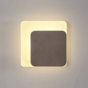 Lichfield Lighting Maxwell Magnetic Base Wall Lamp, 12W LED 3000K 498lm, 15/19cm Square Right Offset, Coffee/Acrylic Frosted Diffuser photo 1