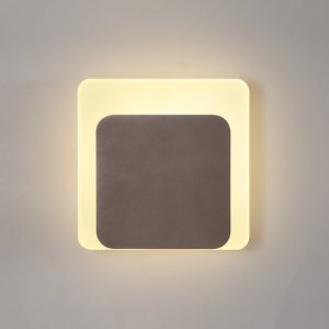 Lichfield Lighting Maxwell Magnetic Base Wall Lamp, 12W LED 3000K 498lm, 15/19cm Square Bottom Offset, Coffee/Acrylic Frosted Diffuser photo 1