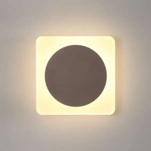 Lichfield Lighting Maxwell Magnetic Base Wall Lamp, 12W LED 3000K 498lm, 15cm Round 19cm Square Centre, Coffee/Acrylic Frosted Diffuser photo 1