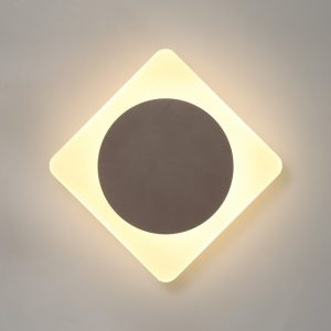 Lichfield Lighting Maxwell Magnetic Base Wall Lamp, 12W LED 3000K 498lm, 15cm Round 19cm Diamond Centre, Coffee/Acrylic Frosted Diffuser photo 1