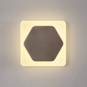Lichfield Lighting Maxwell Magnetic Base Wall Lamp, 12W LED 3000K 498lm, 15cm Horizontal Hexagonal 19cm Square Centre, Coffee/Acrylic Frosted Diffuser photo 1