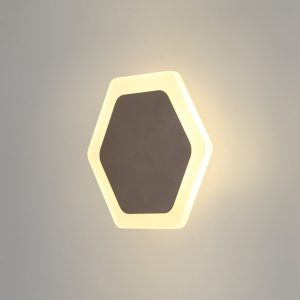 Lichfield Lighting Maxwell Magnetic Base Wall Lamp, 12W LED 3000K 498lm, 15/19cm Horizontal Hexagonal Centre, Coffee/Acrylic Frosted Diffuser photo 1