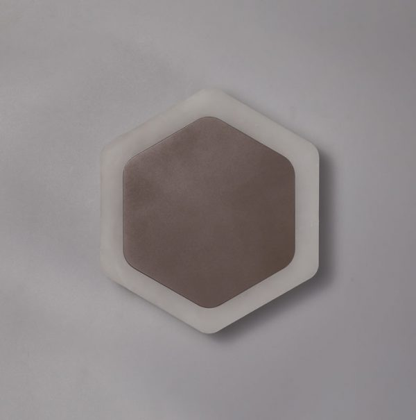 Lichfield Lighting Maxwell Magnetic Base Wall Lamp, 12W LED 3000K 498lm, 15/19cm Vertical Hexagonal Centre, Coffee/Acrylic Frosted Diffuser photo 2