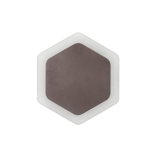 Lichfield Lighting Maxwell Magnetic Base Wall Lamp, 12W LED 3000K 498lm, 15/19cm Vertical Hexagonal Centre, Coffee/Acrylic Frosted Diffuser photo 3