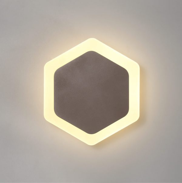 Lichfield Lighting Maxwell Magnetic Base Wall Lamp, 12W LED 3000K 498lm, 15/19cm Vertical Hexagonal Centre, Coffee/Acrylic Frosted Diffuser photo 1
