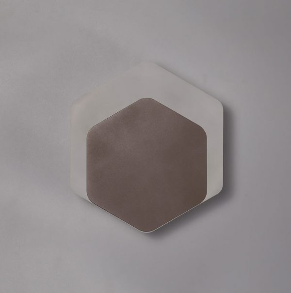 Lichfield Lighting Maxwell Magnetic Base Wall Lamp, 12W LED 3000K 498lm, 15/19cm Vertical Hexagonal Bottom Offset, Coffee/Acrylic Frosted Diffuser photo 2
