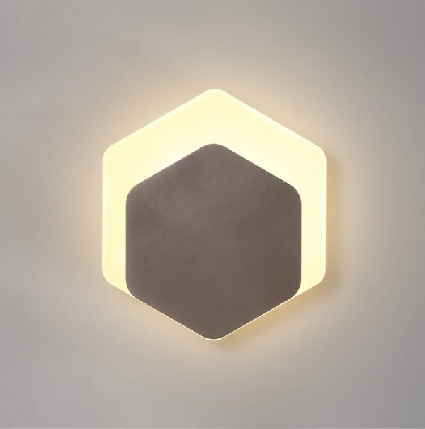 Lichfield Lighting Maxwell Magnetic Base Wall Lamp, 12W LED 3000K 498lm, 15/19cm Vertical Hexagonal Bottom Offset, Coffee/Acrylic Frosted Diffuser photo 1