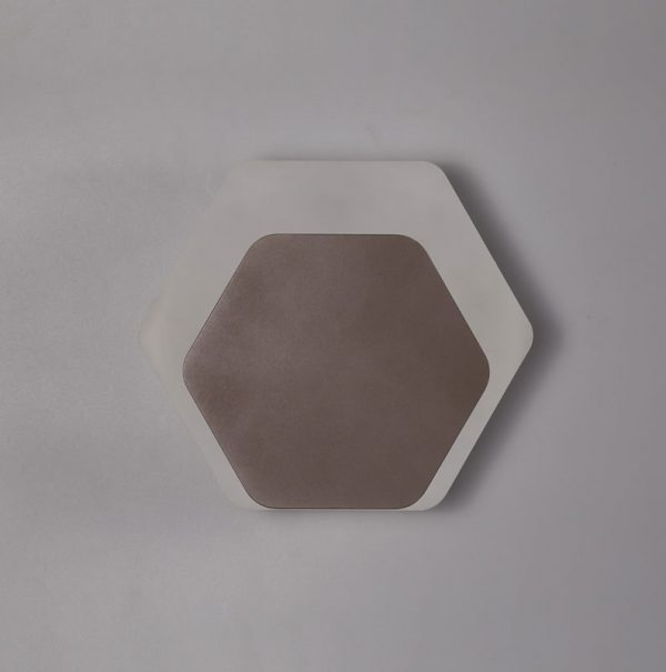 Lichfield Lighting Maxwell Magnetic Base Wall Lamp, 12W LED 3000K 498lm, 15/19cm Horizontal Hexagonal Bottom Offset, Coffee/Acrylic Frosted Diffuser photo 2