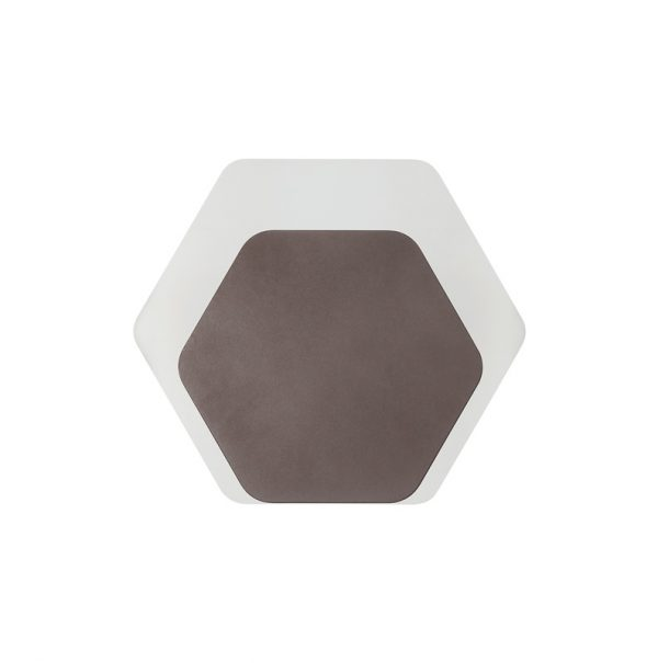 Lichfield Lighting Maxwell Magnetic Base Wall Lamp, 12W LED 3000K 498lm, 15/19cm Horizontal Hexagonal Bottom Offset, Coffee/Acrylic Frosted Diffuser photo 3