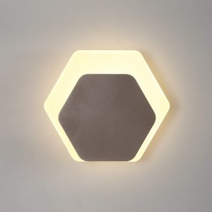 Lichfield Lighting Maxwell Magnetic Base Wall Lamp, 12W LED 3000K 498lm, 15/19cm Horizontal Hexagonal Bottom Offset, Coffee/Acrylic Frosted Diffuser photo 1