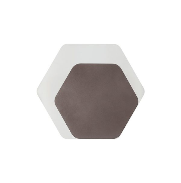 Lichfield Lighting Maxwell Magnetic Base Wall Lamp, 12W LED 3000K 498lm, 15/19cm Horizontal Hexagonal Right Offset, Coffee/Acrylic Frosted Diffuser photo 3