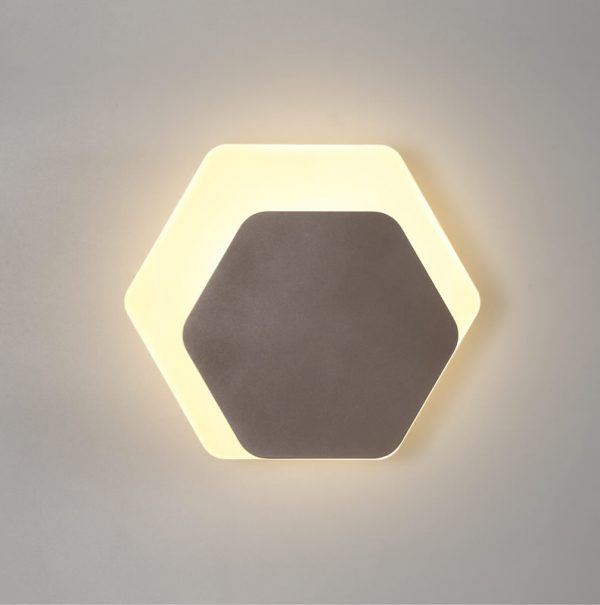 Lichfield Lighting Maxwell Magnetic Base Wall Lamp, 12W LED 3000K 498lm, 15/19cm Horizontal Hexagonal Right Offset, Coffee/Acrylic Frosted Diffuser photo 1