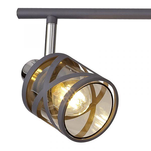 Lichfield Lighting Nelson 4 Linear Bar Light Spotlight E14, Matt Grey/Polished Chrome/Cognac photo 3