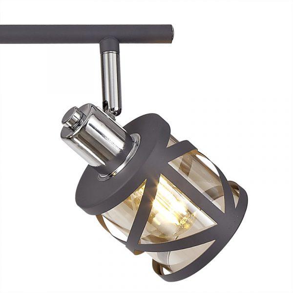 Lichfield Lighting Nelson 4 Linear Bar Light Spotlight E14, Matt Grey/Polished Chrome/Cognac photo 2