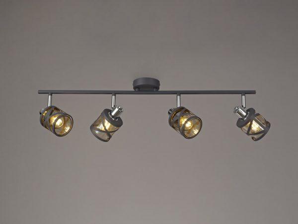 Lichfield Lighting Nelson 4 Linear Bar Light Spotlight E14, Matt Grey/Polished Chrome/Cognac photo 4