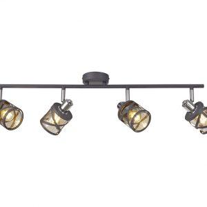 Lichfield Lighting Nelson 4 Linear Bar Light Spotlight E14, Matt Grey/Polished Chrome/Cognac photo 1
