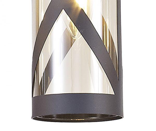 Lichfield Lighting Nelson 3 Light Round Pendant E14, Matt Grey/Polished Chrome/Cognac photo 3