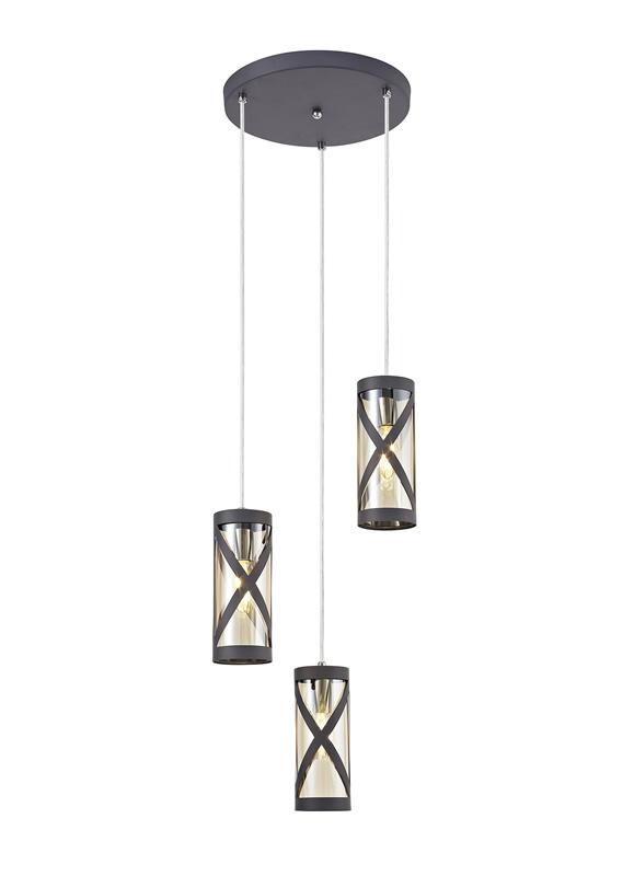 Lichfield Lighting Nelson 3 Light Round Pendant E14, Matt Grey/Polished Chrome/Cognac photo 1