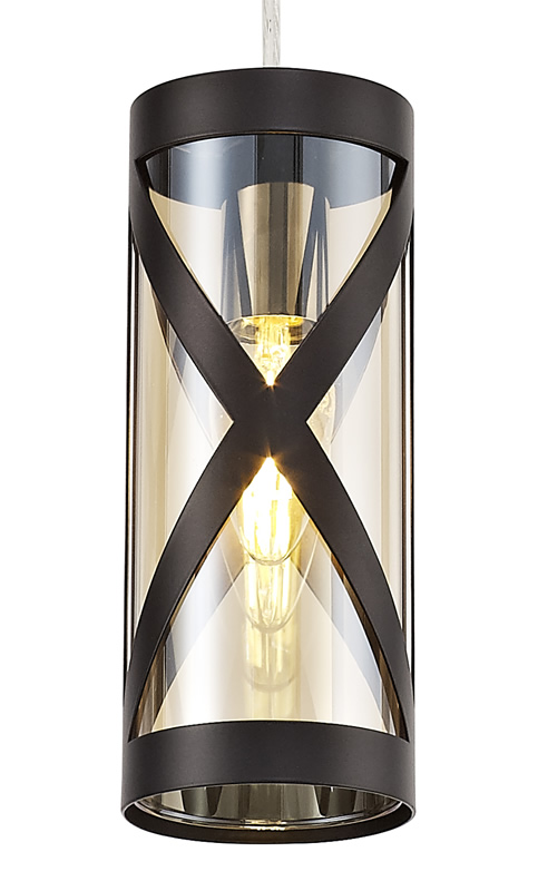 Lichfield Lighting Nelson 1 Light Pendant E14, Oiled Bronze/Polished Chrome/Amber photo 2