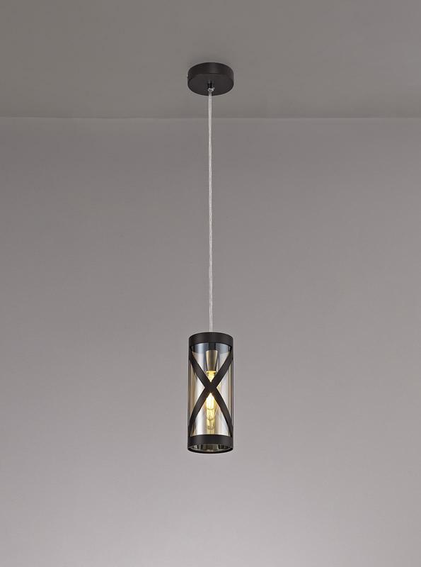 Lichfield Lighting Nelson 1 Light Pendant E14, Oiled Bronze/Polished Chrome/Amber photo 4