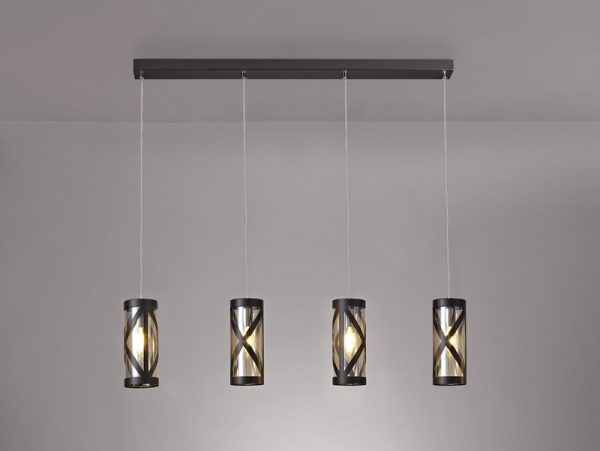 Lichfield Lighting Nelson 4 Light Bar Linear Pendant E14, Oiled Bronze/Polished Chrome/Amber photo 4