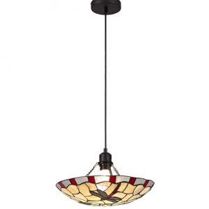 Lichfield Lighting Oakenfield 1 Light Pendant E27 With 35cm Tiffany Shade, Red/Credlock/Clear Crystal/Black photo 1