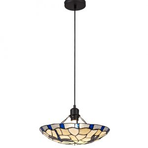 Lichfield Lighting Oakenfield 1 Light Pendant E27 With 35cm Tiffany Shade, Blue/Credlock/Clear Crystal/Black photo 1