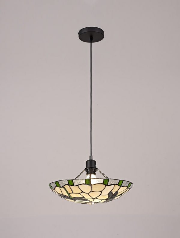Lichfield Lighting Oakenfield 1 Light Pendant E27 With 35cm Tiffany Shade, Green/Credlock/Clear Crystal/Black photo 2