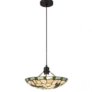 Lichfield Lighting Oakenfield 1 Light Pendant E27 With 35cm Tiffany Shade, Green/Credlock/Clear Crystal/Black photo 1