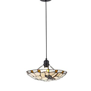 Lichfield Lighting Oakenfield 1 Light Pendant E27 With 35cm Tiffany Shade, Amber/Credlock/Clear Crystal/Black photo 1