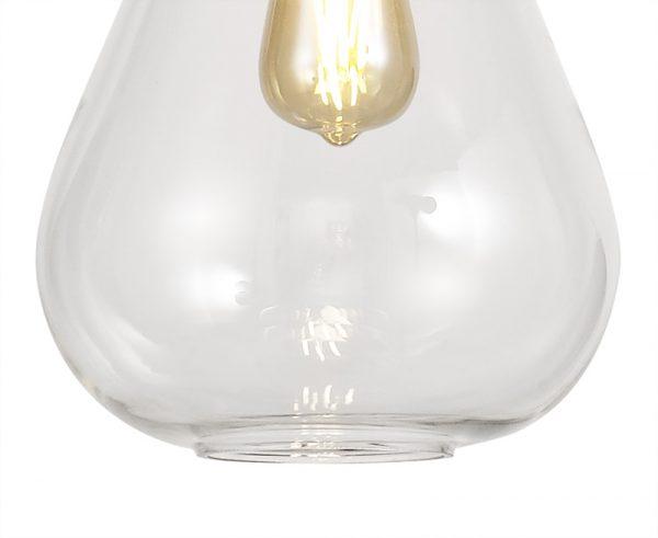 Lichfield Lighting Oakhurst Narrow Pendant, 1 x E27, Ancient Brass/Clear Glass photo 2