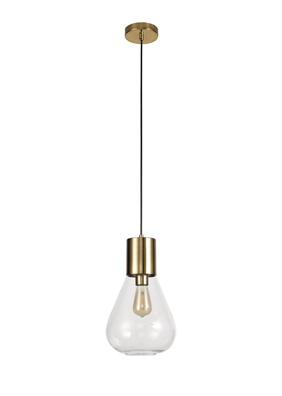 Lichfield Lighting Oakhurst Narrow Pendant, 1 x E27, Ancient Brass/Clear Glass photo 1