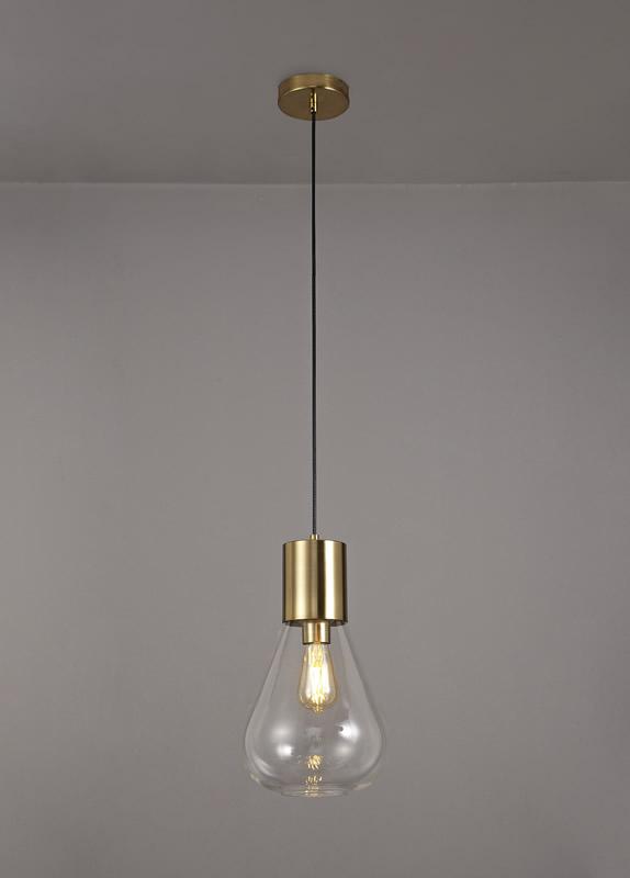 Lichfield Lighting Oakhurst Narrow Pendant, 1 x E27, Ancient Brass/Clear Glass photo 3