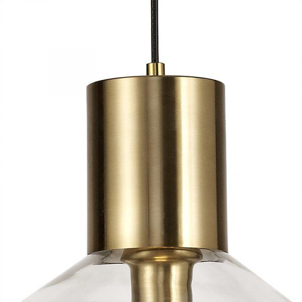 Lichfield Lighting Oakhurst Wide Pendant, 1 x E27, Ancient Brass/Clear Glass photo 3