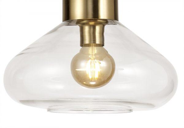 Lichfield Lighting Oakhurst Wide Pendant, 1 x E27, Ancient Brass/Clear Glass photo 2