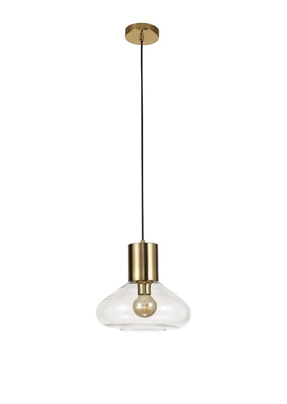 Lichfield Lighting Oakhurst Wide Pendant, 1 x E27, Ancient Brass/Clear Glass photo 1