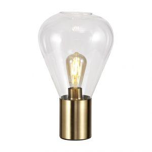 Lichfield Lighting Oakhurst Narrow Table Lamp, 1 x E27, Ancient Brass/Clear Glass photo 1