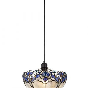Lichfield Lighting Oricle 1 Light Uplighter Pendant E27 With 30cm Tiffany Shade, Blue/Clear Crystal/Black photo 1