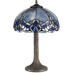 Lichfield Lighting Oricle 1 Light Tree Like Table Lamp E27 With 30cm Tiffany Shade, Blue/Clear Crystal/Aged Antique Brass photo 1