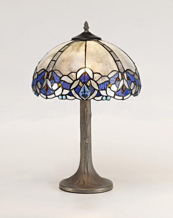 Lichfield Lighting Oricle 1 Light Tree Like Table Lamp E27 With 30cm Tiffany Shade, Blue/Clear Crystal/Aged Antique Brass photo 2