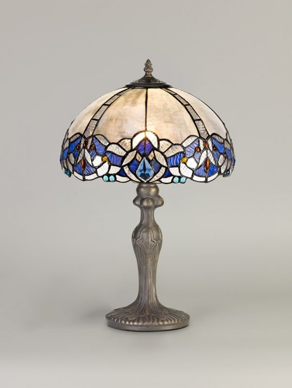 Lichfield Lighting Oricle 1 Light Curved Table Lamp E27 With 30cm Tiffany Shade, Blue/Clear Crystal/Aged Antique Brass photo 2