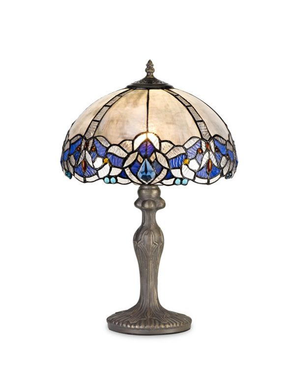 Lichfield Lighting Oricle 1 Light Curved Table Lamp E27 With 30cm Tiffany Shade, Blue/Clear Crystal/Aged Antique Brass photo 1